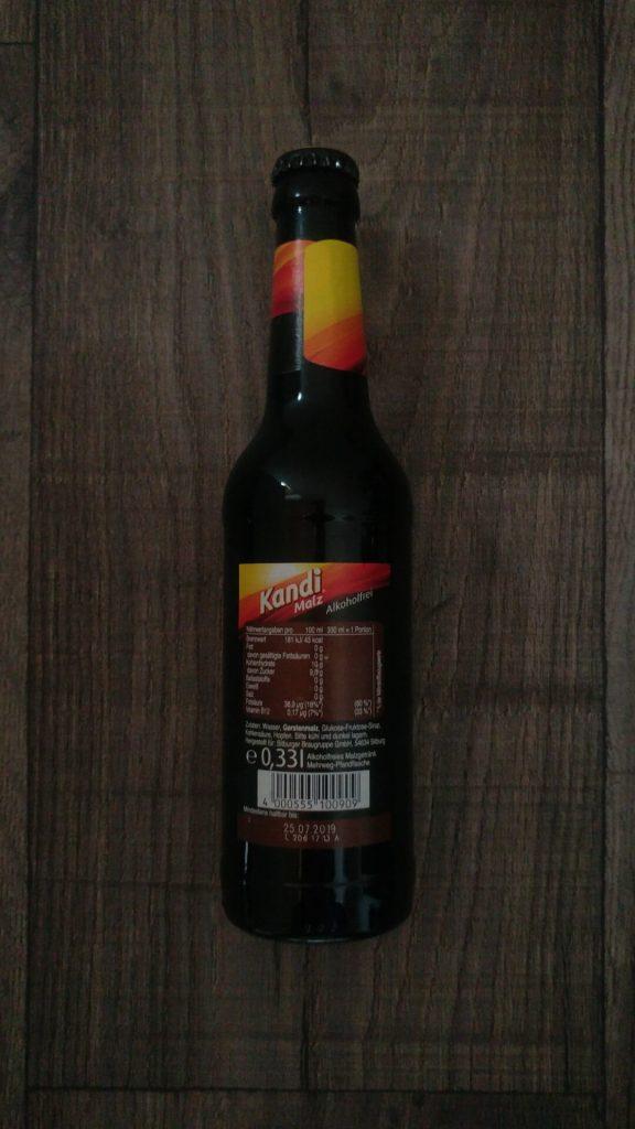 Kandi Malz Flasche Rückseite