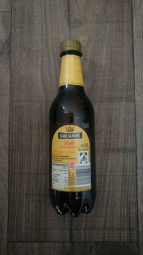 Karlskrone Malz Flasche Rückseite